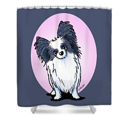 Black And White Papillon Shower Curtain by Kim Niles
