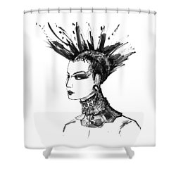 Shower Curtain featuring the digital art Black And White Punk Rock Girl by Marian Voicu