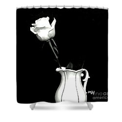 Shower Curtain featuring the photograph Black And White Rose Three by Marsha Heiken