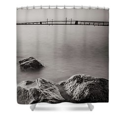 Black And White Sandy Point Shower Curtain