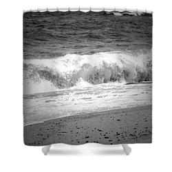 Black And White Shoreline  Shower Curtain