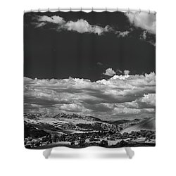Black And White Small Town  Shower Curtain