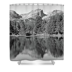 Shower Curtain featuring the photograph Black And White Sprague Lake Reflection by Dan Sproul