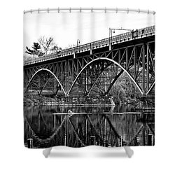Shower Curtain featuring the photograph Black And White - Strawberry Mansion Bridge - Philadelphia by Bill Cannon