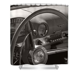 Black And White Thunderbird Steering Wheel  Shower Curtain
