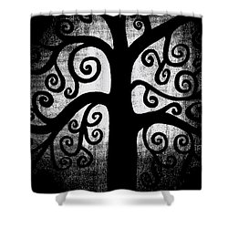 Black And White Tree Shower Curtain by Angelina Vick