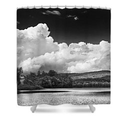 Black And White Vienna Maine Flying Pond With Storm Clouds Fine Art Print Shower Curtain by Keith Webber Jr