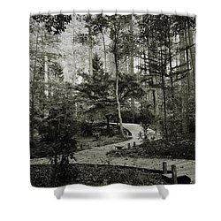 Black And White Vintage Edit -walk In Peace  Shower Curtain