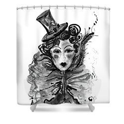Shower Curtain featuring the mixed media Black And White Watercolor Fashion Illustration by Marian Voicu