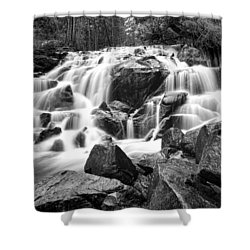Black And White Waterfall In Lee Vining Canyon Shower Curtain