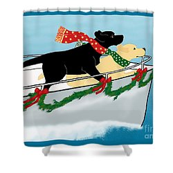Black And Yellow Labs Boat To Christmas Shower Curtain