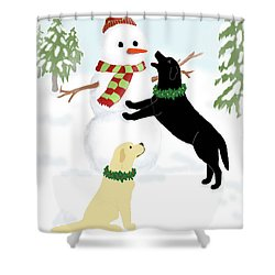 Black And Yellow Labs With Snowman Shower Curtain