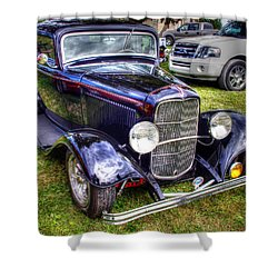 Black Antique Car Shower Curtain