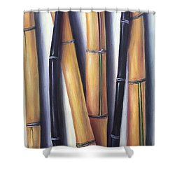 Shower Curtain featuring the painting Black And Gold Bamboos by Randol Burns