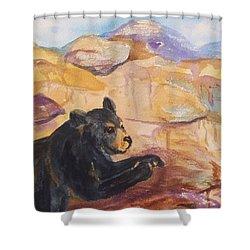 Black Bear Cub Shower Curtain by Ellen Levinson
