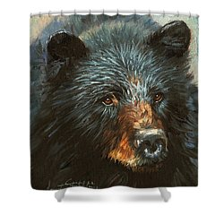 Shower Curtain featuring the painting Black Bear by David Stribbling