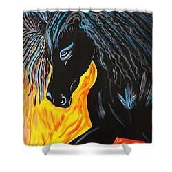 Black Beauty Shower Curtain by Nora Shepley