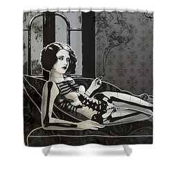 Black Blanche Shower Curtain
