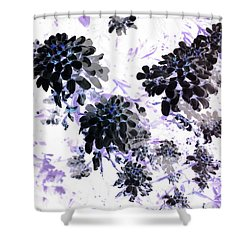Black Blooms I Shower Curtain
