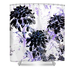 Black Blooms I I Shower Curtain