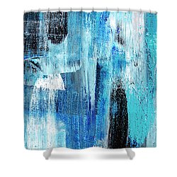 Shower Curtain featuring the painting Black Blue Abstract Painting by Christina Rollo