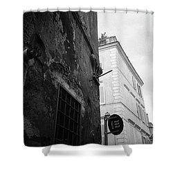 Black Building, White Building Shower Curtain