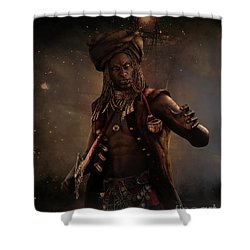 Shower Curtain featuring the digital art Black Caesar Pirate by Shanina Conway