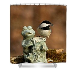 Black-capped Chickadee And Frog Shower Curtain by Sheila Brown
