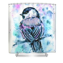 Shower Curtain featuring the painting Black-capped Chickadee by Zaira Dzhaubaeva