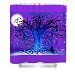 Shower Curtain featuring the drawing Black Cat And Night Owl by Nick Gustafson