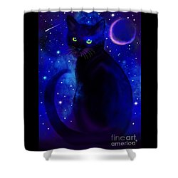 Shower Curtain featuring the painting Black Cat Blues  by Nick Gustafson