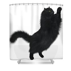 Black Cat Shower Curtain by Corey Ford