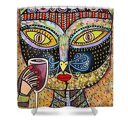 Black Cat Drinking Red Wine Shower Curtain by Sandra Silberzweig