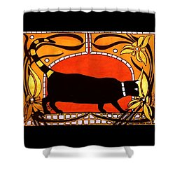 Shower Curtain featuring the painting Black Cat With Floral Motif Of Art Nouveau By Dora Hathazi Mendes by Dora Hathazi Mendes