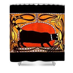 Black Cat With Floral Motif Of Art Nouveau By Dora Hathazi Mendes Shower Curtain by Dora Hathazi Mendes