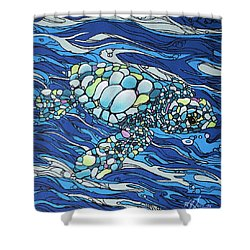Black Contour Turtle Shower Curtain