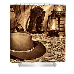 Black Cowboy Hat In An Old Barn Shower Curtain