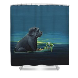 Black Dog Shower Curtain
