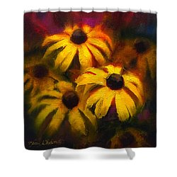 Shower Curtain featuring the painting Black Eyed Susans - Vibrant Flowers by Karen Whitworth