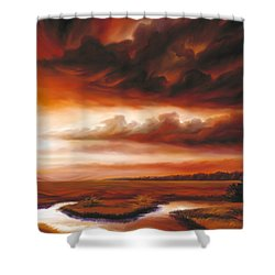 Black Fire Shower Curtain by James Christopher Hill