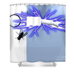 Black Fly On Tablet Shower Curtain