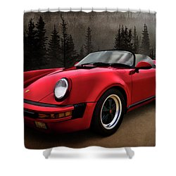 Black Forest - Red Speedster Shower Curtain