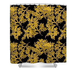 Shower Curtain featuring the mixed media Black Gold Leaf Pattern by Christina Rollo