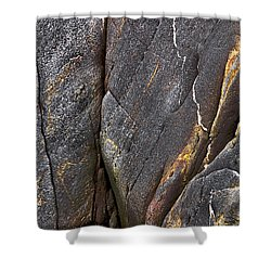 Shower Curtain featuring the photograph Black Granite Abstract Two by Peter J Sucy