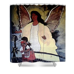 Black Guardian Angel Mural Shower Curtain