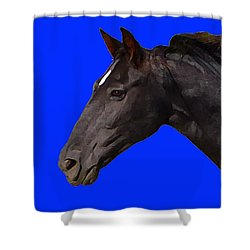 Shower Curtain featuring the digital art Black Horse Spirit Blue by Jana Russon