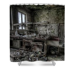 Shower Curtain featuring the digital art Black Lab by Nathan Wright
