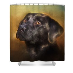 Black Lab Portrait 2 Shower Curtain by Eleanor Abramson