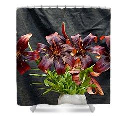 Black Lilies Shower Curtain