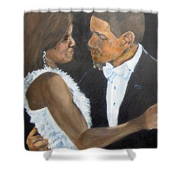 Shower Curtain featuring the painting Black Love Is Black Power by Saundra Johnson